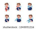 cute boy have asthma and flu...   Shutterstock . vector #1343051216