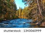Forest River Landscape. Autumn...