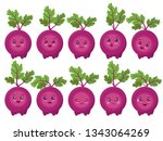 set of cute beets isolated.... | Shutterstock .eps vector #1343064269