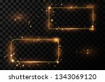 golden frame with lights... | Shutterstock .eps vector #1343069120