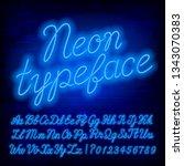 blue neon alphabet font. blue...   Shutterstock .eps vector #1343070383