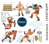 the gladiator. set in ancient...   Shutterstock .eps vector #1343078399