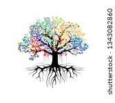 abstract vibrant tree logo...   Shutterstock .eps vector #1343082860
