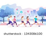 group people running in the... | Shutterstock .eps vector #1343086100