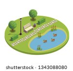 city park recreational area... | Shutterstock .eps vector #1343088080