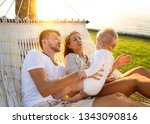 happy family on a tropical...   Shutterstock . vector #1343090816