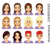 set of woman character with... | Shutterstock .eps vector #1343093183