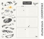 hand drawn fast food restaurant ... | Shutterstock .eps vector #1343093363