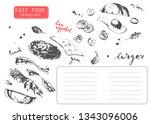 hand drawn fast food restaurant ... | Shutterstock .eps vector #1343096006