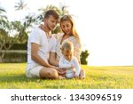 happy family on tropical island ...   Shutterstock . vector #1343096519