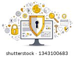 shield over computer monitor... | Shutterstock .eps vector #1343100683