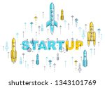 startup rockets take off  space ... | Shutterstock .eps vector #1343101769