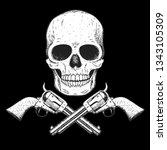 skull and pistols hand drawn... | Shutterstock .eps vector #1343105309