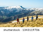 hikers with mountain in... | Shutterstock . vector #1343119706