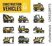 construction vehicle and... | Shutterstock .eps vector #1343128973