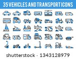 35 vehicle and transport... | Shutterstock .eps vector #1343128979