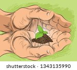 vector illustration of a sprout ... | Shutterstock .eps vector #1343135990