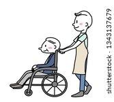 male caregiver pushing elderly...   Shutterstock .eps vector #1343137679