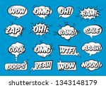 set of comic speech bubbles on... | Shutterstock .eps vector #1343148179