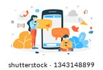 young happy people chatting... | Shutterstock . vector #1343148899