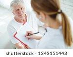 elderly man at the doctor  | Shutterstock . vector #1343151443