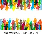 hands of different colors.... | Shutterstock .eps vector #134315924