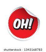 red vector sticker and text oh. ... | Shutterstock .eps vector #1343168783