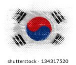 the south korean flag on dotted ... | Shutterstock . vector #134317520