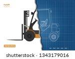 outline blueprint of forklift.... | Shutterstock .eps vector #1343179016
