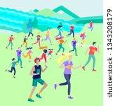 people marathon running sport... | Shutterstock .eps vector #1343208179