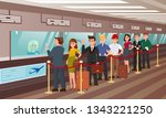 queue for boarding registration ... | Shutterstock .eps vector #1343221250