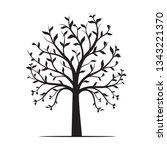 black tree with leaves on white ... | Shutterstock .eps vector #1343221370