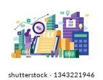 business woman holding... | Shutterstock .eps vector #1343221946