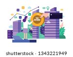 business woman receive tax... | Shutterstock .eps vector #1343221949