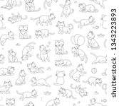 Stock vector vector seamless pattern of cute cartoon style cat in different poses animal character illustration 1343223893