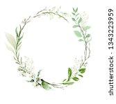 a wreath of wild flowers ... | Shutterstock . vector #1343223959