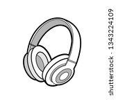 headphones wireless white... | Shutterstock .eps vector #1343224109
