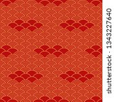 seamless pattern in asian style. | Shutterstock .eps vector #1343227640