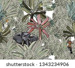 seamless pattern india bushes... | Shutterstock .eps vector #1343234906