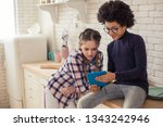 online communication. delighted ... | Shutterstock . vector #1343242946