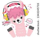 cute llama cartoon wearing... | Shutterstock .eps vector #1343245733