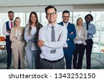 group of happy business people... | Shutterstock . vector #1343252150