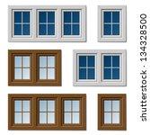 vector plastic windows white... | Shutterstock .eps vector #134328500