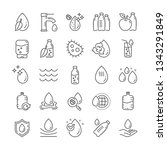 water drop line icons. set of... | Shutterstock .eps vector #1343291849