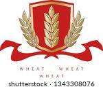 golden ripe wheat ears on red... | Shutterstock .eps vector #1343308076