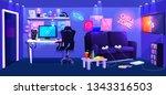 teen game room interior. play... | Shutterstock .eps vector #1343316503