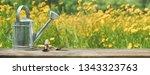 gardening tool in flowerbed | Shutterstock . vector #1343323763
