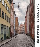 copenhagen old cobbled streets  ...   Shutterstock . vector #1343338676