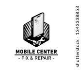 mobile center logo. mobile fix... | Shutterstock .eps vector #1343338853