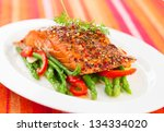salmon fillet with asparagus... | Shutterstock . vector #134334020